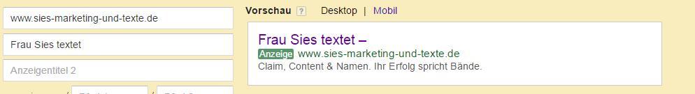 Shot Er. Textanzeigen